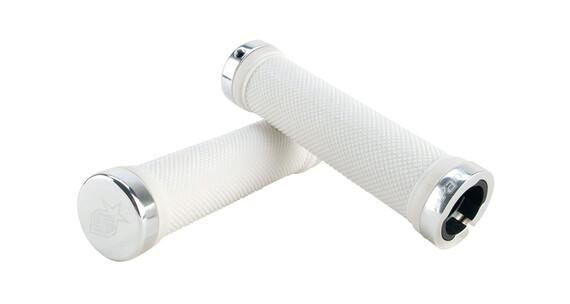 Spank Subrose Lock-On kädensija CNC Endcap , valkoinen/hopea